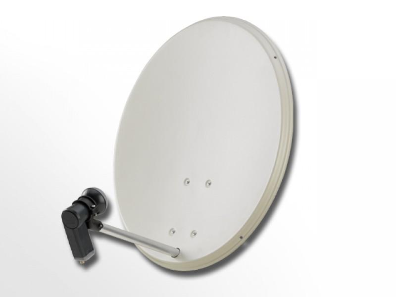 COMAG 2-Teilnehmer Digitale HDTV SAT Anlage (80cm Stahl-Antenne + Montagezubehör + Twin LNB)