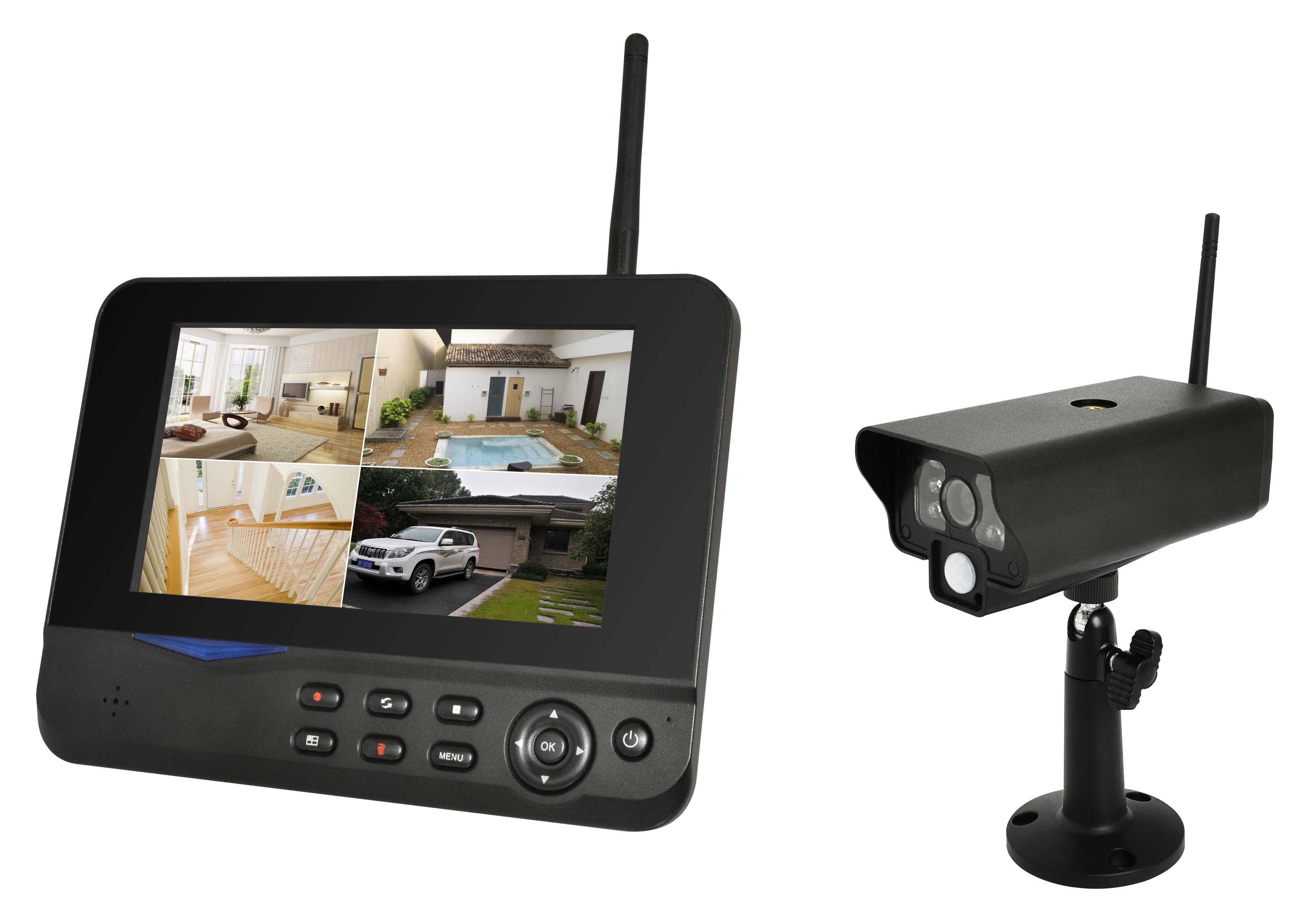 kkmoon berwachungskamera set mit monitor wireless wifi. Black Bedroom Furniture Sets. Home Design Ideas