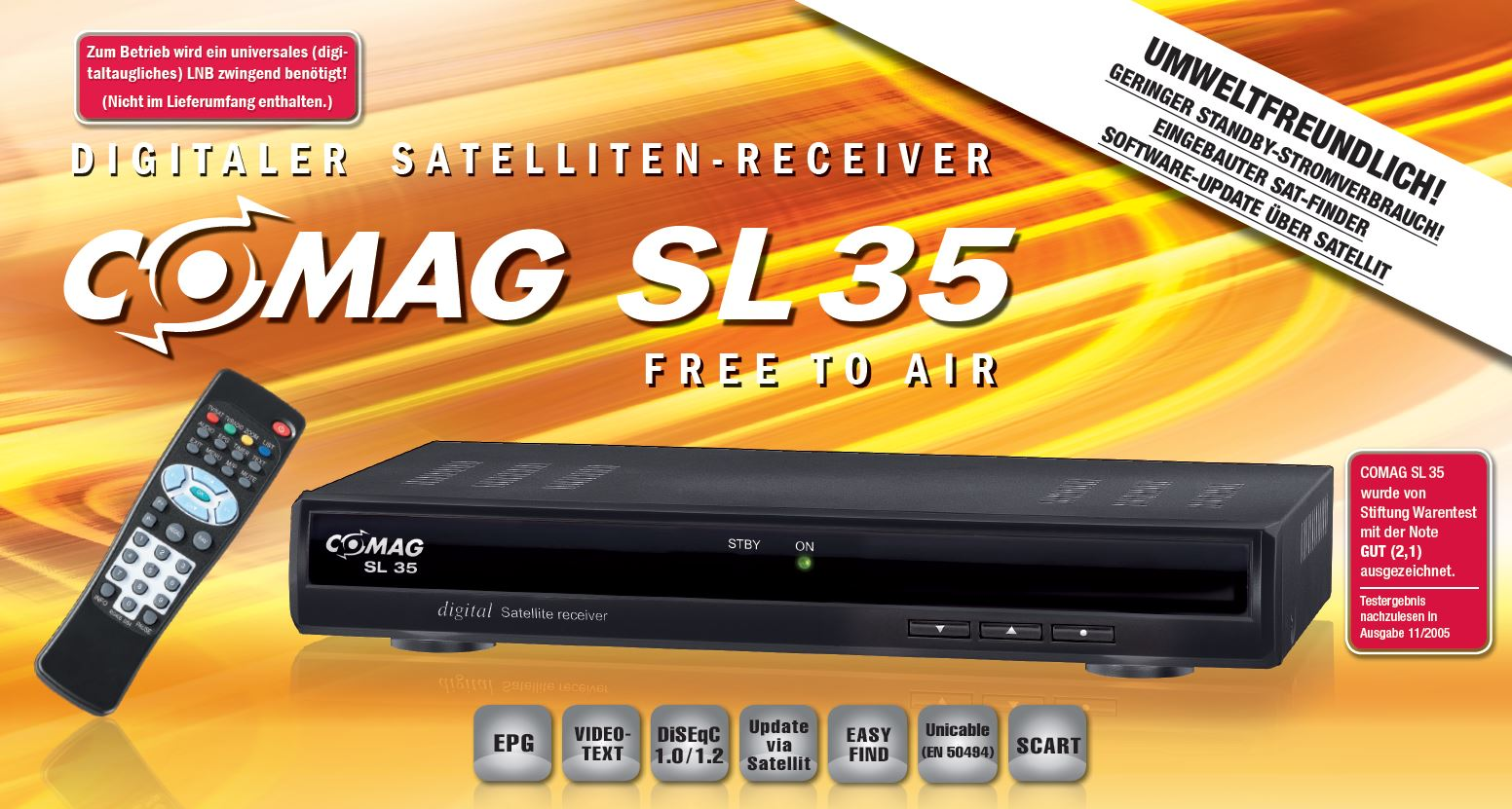 comag sl 35 digitaler satelliten receiver schwarz ebay. Black Bedroom Furniture Sets. Home Design Ideas