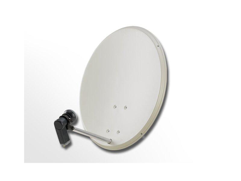 COMAG 2-Teilnehmer Digitale HDTV SAT Anlage (80cm Alu-Antenne + Montagezubehör + Twin LNB)