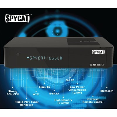 Spycat Linux E2 Full HD HbbTV Sat Receiver USB Bluetooth inkl. HDMI Kabel
