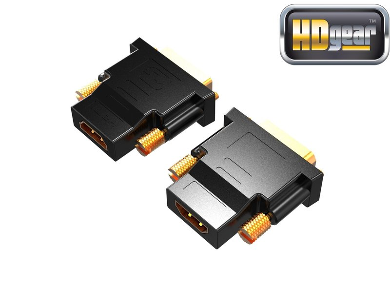 HDGear HK0003-DA High End DVI/HDMI Adapter vergoldet schwarz