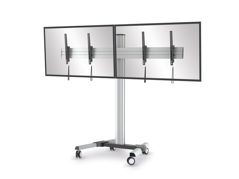 conecto TV Standfuß / Rollwagen SA-CC50166 für 2 Stück LCD/LED/Plasma Bildschirme von 45 bis 55 Zoll, neigbar, max. Tragkraft 2x50kg, VESA 600x400mm, Aluminium, silber/schwarz