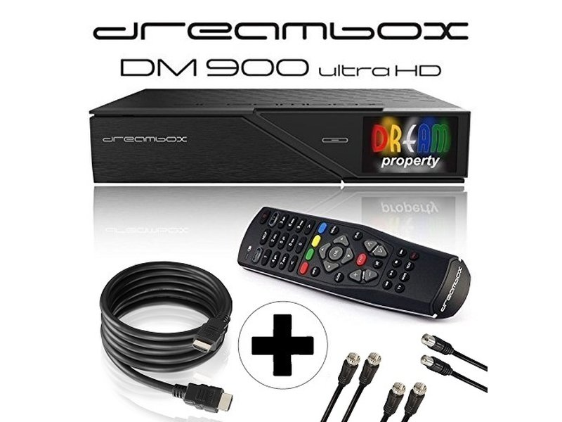 Dreambox DM900 UHD 4K E2 Linux Receiver mit 2x DVB-S2X / 1x DVB-C/T2 Triple  Tuner (inkl  gratis Kabelset: 1x HDMI Kabel + 2x 1,5m SAT Anschlusskabel +