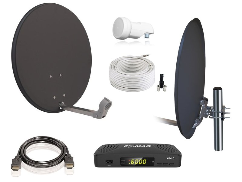 o.A. Digitale 1 Teilnehmer Satelliten-Komplettanlage COMAG HD10 HDTV-Receiver, Single-LNB, X60 cm Antenne, Stahl anthrazit