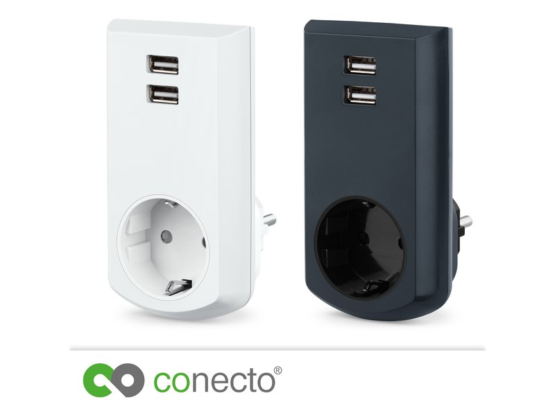 conecto schutzkontakt steckdose mit 2 fachem usb anschluss. Black Bedroom Furniture Sets. Home Design Ideas