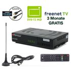 Opticum AX 360 Freenet TV Irdeto DVB-T2 HD H.265/HEVC Receiver, inkl. HDMI Kabel + DVB-T2 Antenne schwarz